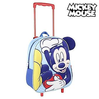 3D school bag with wheels mickey mouse