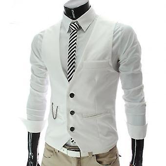 Men Vests Waistcoat Solid Color V Neck Sleeveless Buttons Blazer Vests