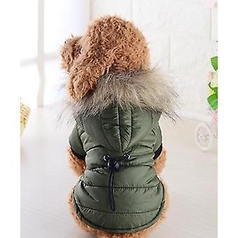 Pet Dog Coat Vinter Varm Liten Hund Kläder För Chihuahua Soft Fur Hood Puppy Jacket Kläder för Chihuahua Små Stora Hundar, Storlek:S(Grön)