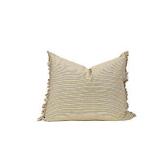 Set of 2 Light Brown and Ivory Horizontal Stripe Lumbar Accent Pillows