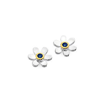 Sterling Silver Stud Earrings - Origins Daisy + Sapphire + Gold Plated