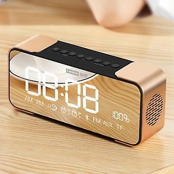 Lenovo L022 Digital LED Clock with Speaker - Wireless Alarm Clock Mirror Alarm Phone Holder Snooze Brightness Adjustment Gold
