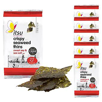 6 x 5g Algues Thins Sweet Soy Sea Salt Crisp Chips Natural Snack Nibble Savoury Treat