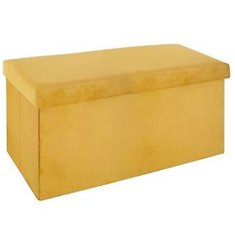 puff foldable 76 x 38 x 38 x 38 cm velvet yellow