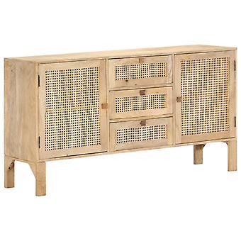vidaXL Sideboard 150x40x80 cm Mango solid wood and natural braid