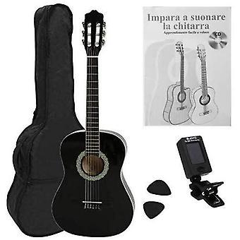 FengChun Konzertgitarre 4/4 STARTER SET schwarz mit cremenfarbigen Randeinlagen, inkl. Tasche leicht