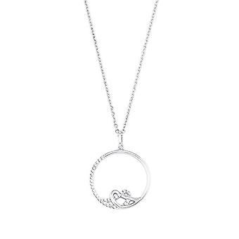 Amor - Damen Halskette mit herzförmigen Anhänger, glänzende 925 Silber, mit weißen Zirkonen