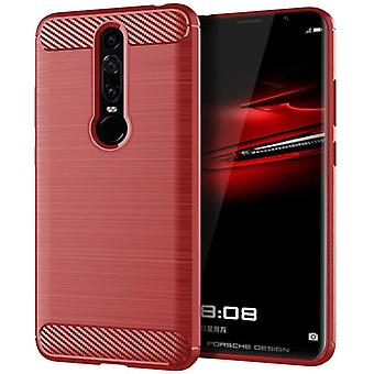 Tpu carbon fibre case for huawei mate rs red mfkj-332