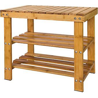 SoBuy Bamboo Shoe Storage Rack con asiento en la parte superior, FSR02-K-N