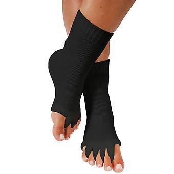 Svart yoga åpen tå sokker femfinger separator fotjustering sokker cai1075
