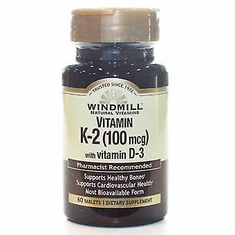 Windmill Health VITAMIN K2 W/VIT D3, 60 Tabs