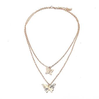 Women Necklace Butterfly Pentagram Golden Alloy Clavicle Chain For Exhibition