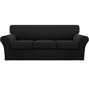 ストレッチソファは、リビングルームのソファのスリップカバー(ベースカバープラス1/2/3/シートクッションカバー)黒の黒いソファカバーをカバー