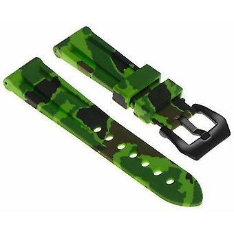 (24mm) Zelený maskovací silikonový řemínek s matnou černou přezkou