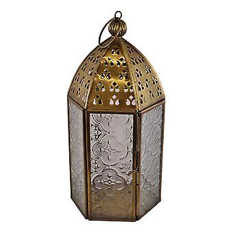 Petite lanterne de bougie Kasbah de style marocain en métal doré