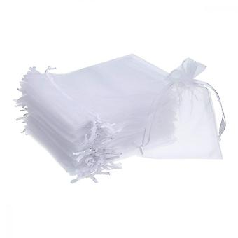 Organza Bag, 50pcs Hard Yarn Drawstring Jewelry Sack For Wedding Party, White