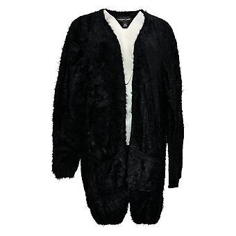 Colleen Lopez Women's Sweater Fuzzy Cardigan Black 671569