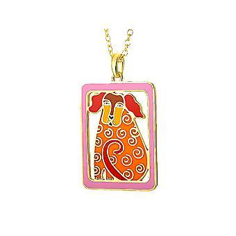 Laurel Burch Dog Tales Orange Cloisonne Pendant w/ Necklace