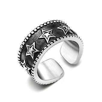 Vijf-puntige star ringen gepersonaliseerde retro titanium staal open ring eenvoudige mannen accessoires retro ring sa94