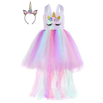 Sequin Unicorn Dress For Girls 1 To 8y With Headband Gift