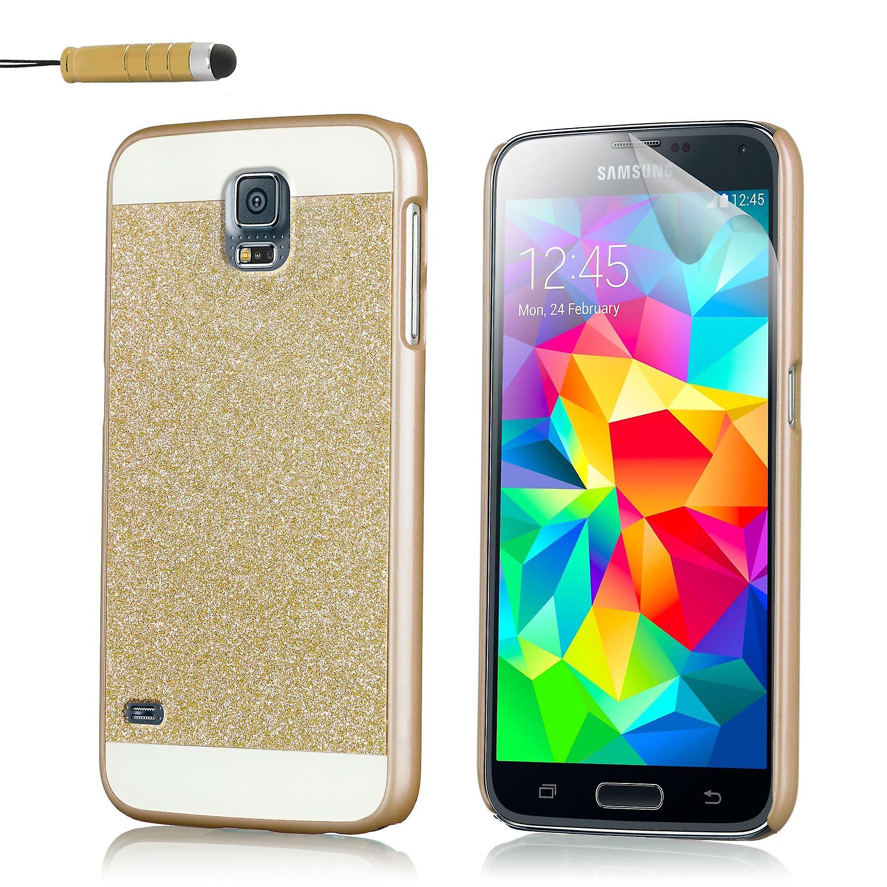 Glitter case for Samsung Galaxy S5 SM-G900 + stylus - Gold