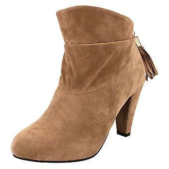 Flekk på høy hæl Ankel Boot Rouched dusk kjeden tilbake Zip