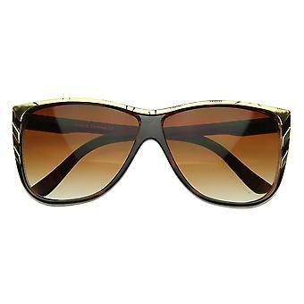 Neue größere moderne Retro-Mode Goldspitze Punkt Detail Horn umrandeten Sonnenbrillen