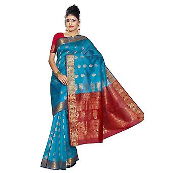 Blue and Red South Indian fancy Art Silk Sari Saree bellydance wrap