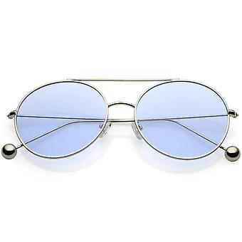Premium Oversize Round Sunglasses Metal Double Nose Bridge Color Flat Lens 59mm