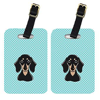 Pair of Checkerboard Blue Smooth Black and Tan Dachshund Luggage Tags