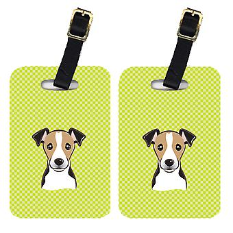 Pair of Checkerboard Lime Green Jack Russell Terrier Luggage Tags