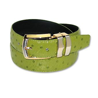 OSTRICH Pattern Bonded Leather Men's Belt Gold-Tone Buckle