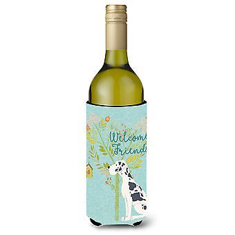 Welcome Friends Harlequin Great Dane Wine Bottle Beverge Insulator Hugger
