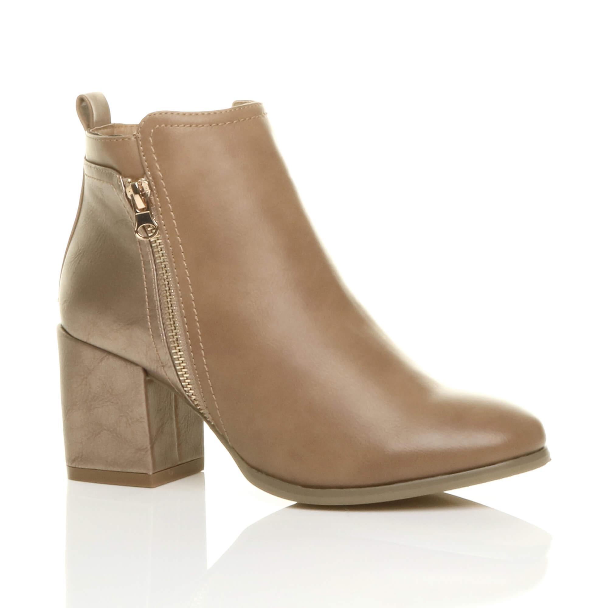 Ajvani womens block high heel gold zip contrast metallic smart ankle boots GRQAu