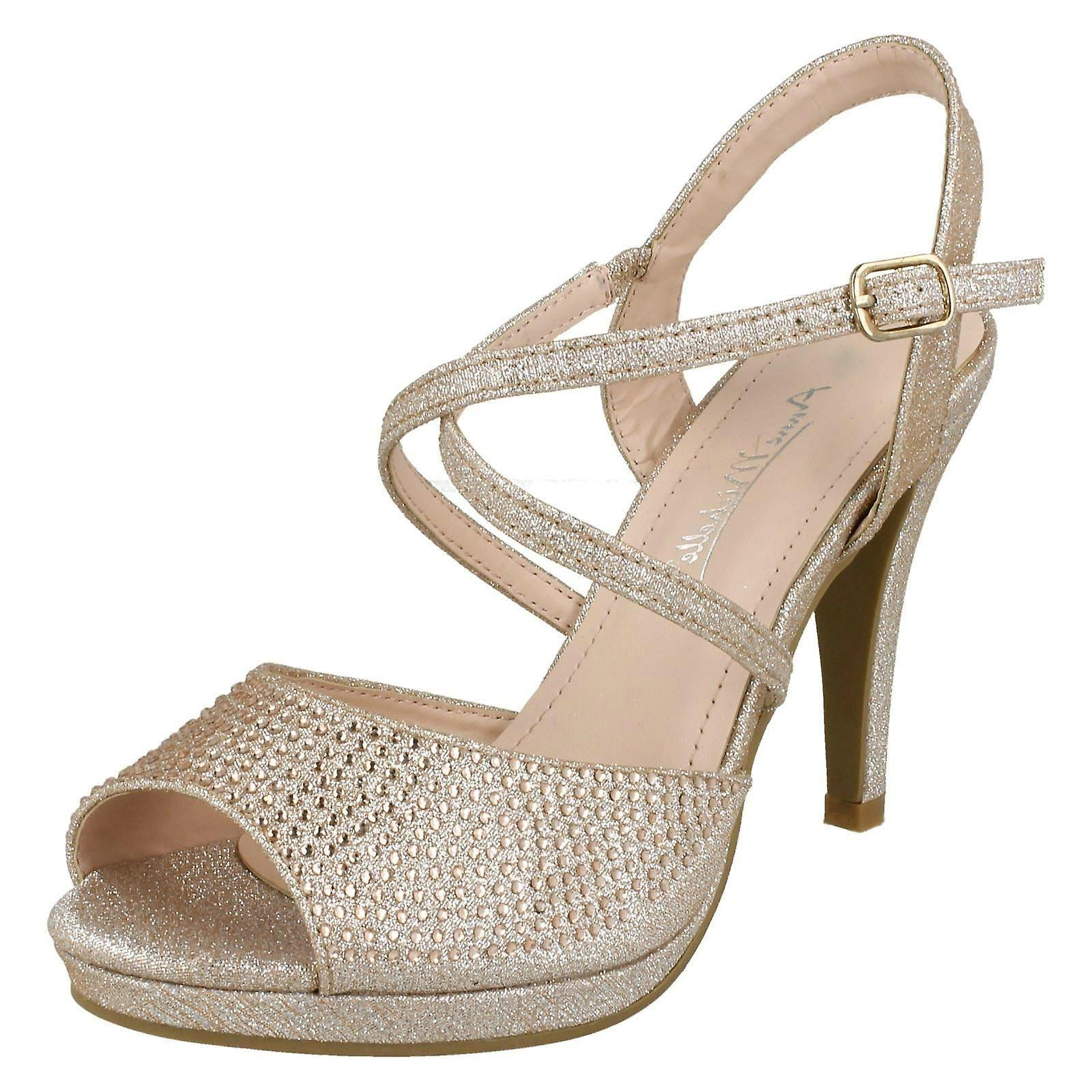 Ladies Anne Michelle Diamante Buckle Strap Sandals xItxO