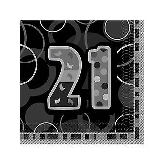 Födelsedag Glitz svart & Silver 21st Birthday - lunch servetter