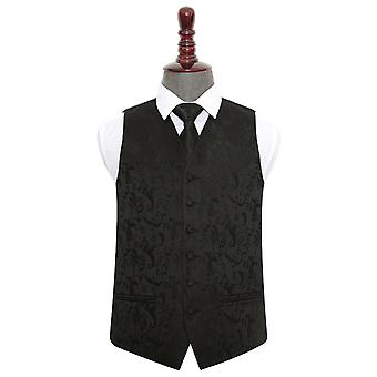 Black Floral Wedding Vest & Tie Set