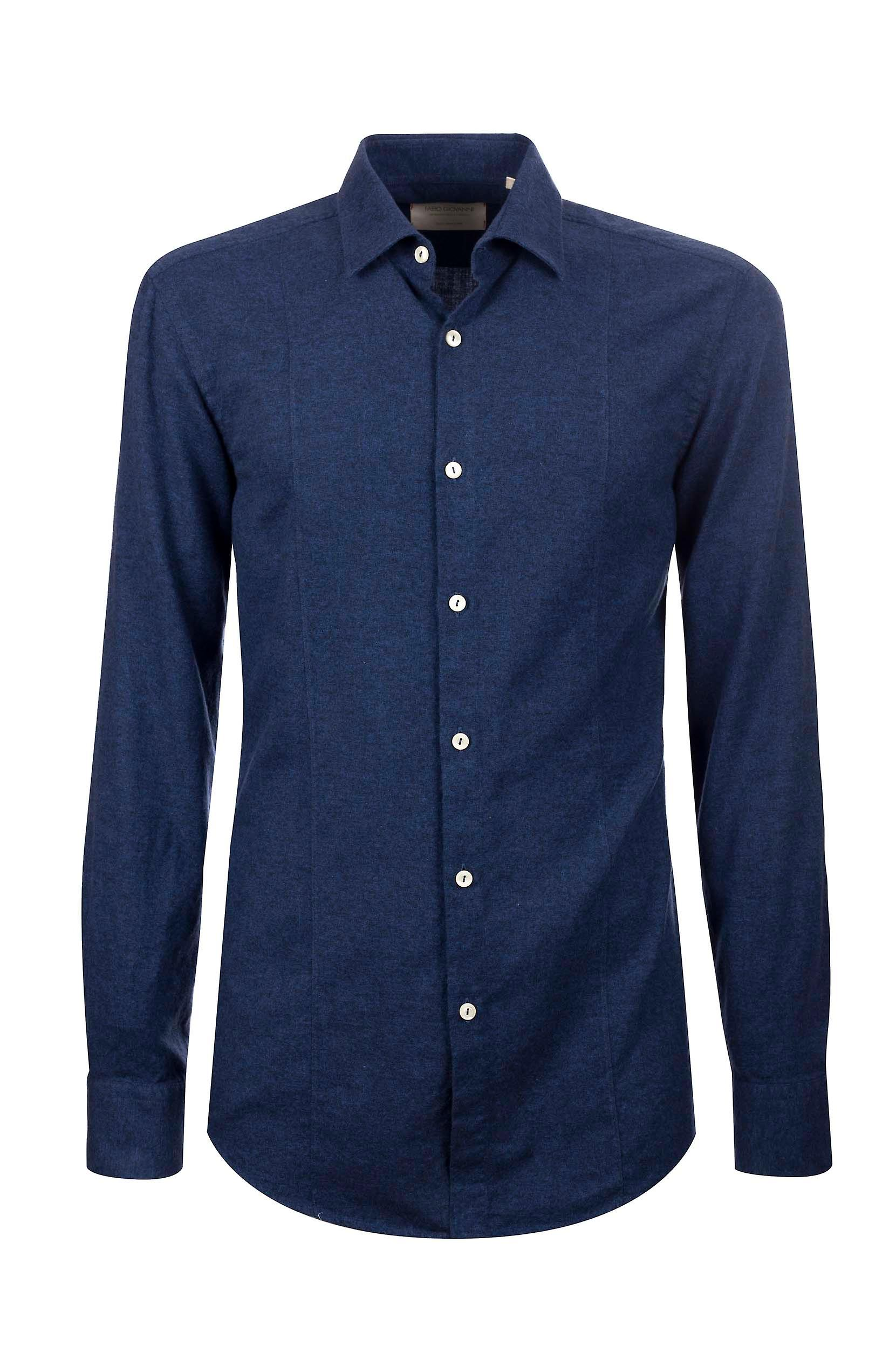 Fabio Giovanni Umberto Shirt - Super-Soft Cotton Flannel Blue Italian Shirt