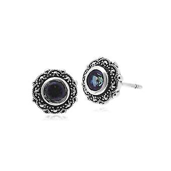 Art Nouveau Style Round Mystic Topaz & Marcasite Floral Stud Earrings in 925 Sterling Silver 214E852405925