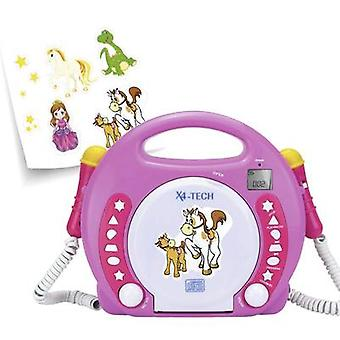 X4 Tech Bobby Joey Kids CD-speler CD, SD, USB Incl. microfoon Pink