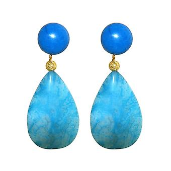 GEMSHINE ear clips or stud earrings, turquoise, blue agate high quality gold plated.