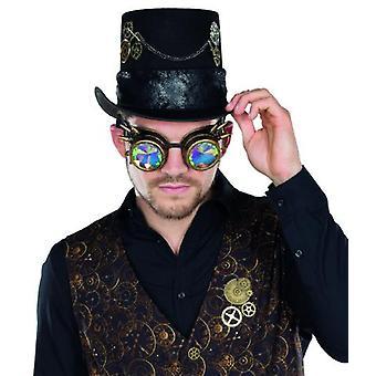Brille Steampunk Design Hologramm Kupferfarbene Fliegerbrille Ziernieten Accessoire Karneval