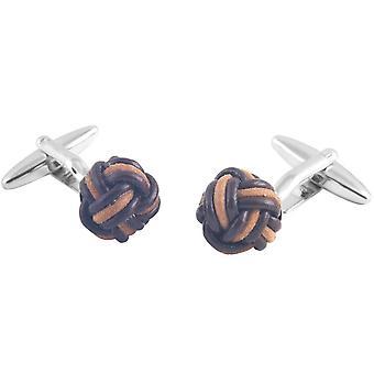 David Van Hagen Two Tone Leather Knot Cufflinks - Silver/Brown