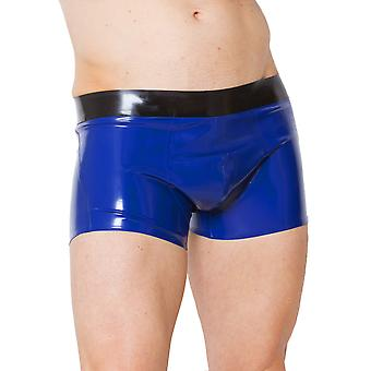 Skin Two Clothing Men's Sexy Shorts Electric Blue Latex Rubber Black Waist