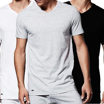 Lacoste Essentials Supima-Baumwolle 3er-Pack v-neck T-Shirt, schwarz/grau/weiss, XL
