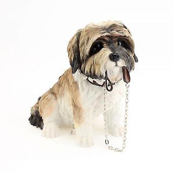 16Cm Sitting Shih Tzu Walkies Brown Dog Ornament Home Decoration Figurine