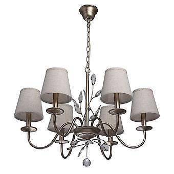 Glasberg - finitura argento sei a sospensione a luce con tonalità crema e cristalli 419011206