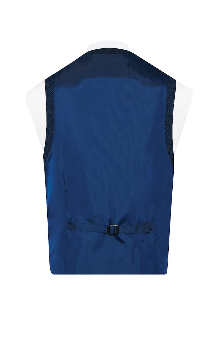 Skotsk Harris Tweed Herre blåsort sildeben Tweedveste Regular fit 100% uld lav cut