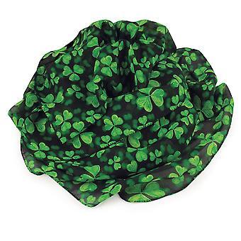Eternal Collection Irish Shamrock Green And Black Multi Coloured Pure Silk Scarf