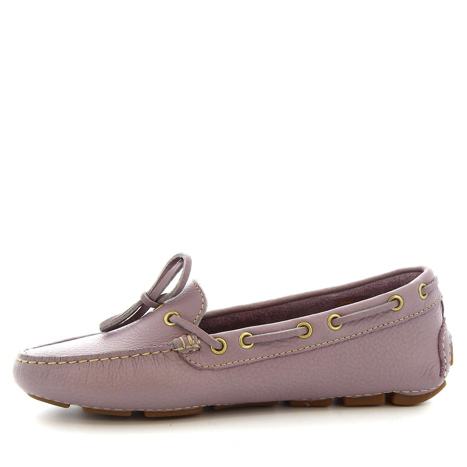 Leonardo Shoes women's handmade boat mocassins in lilac calf leather